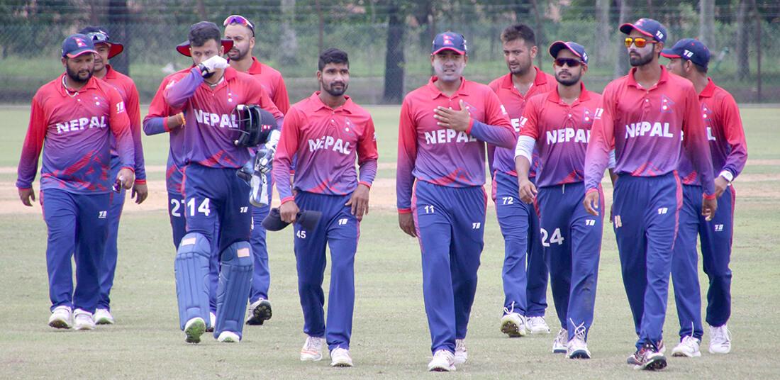 ट्वान्टी—२० विश्वकप छनोटः नेपाल सिंगापुरविरुद्ध खेल्दै