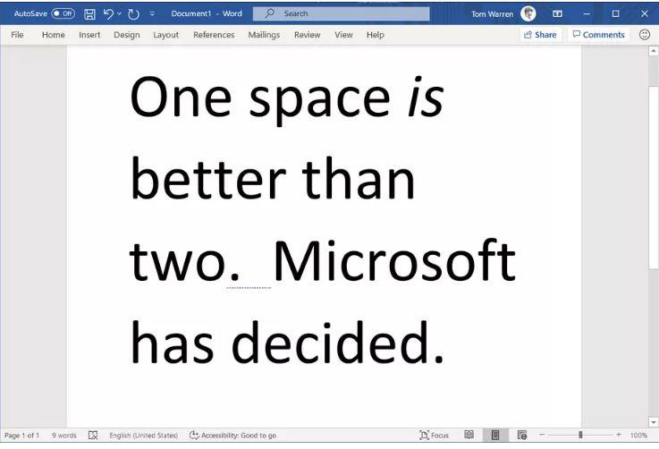 अब वाक्यहरुबीच दुईवटा 'स्पेस' राखे माइक्रोसफ्टले गलत देखाउने
