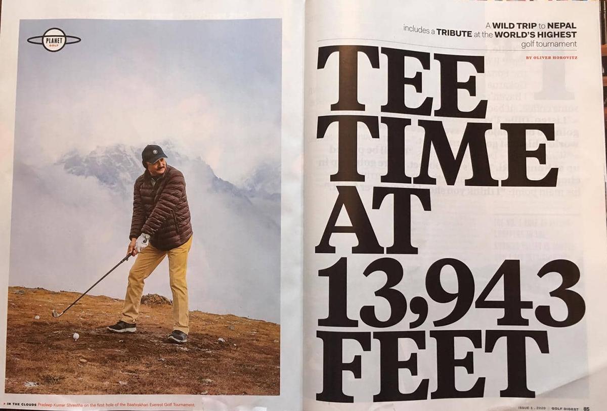 अमेरिकी म्यागेजिन 'गल्फ डाइजेस्ट' द्वारा संसारकै सबैभन्दा उचाइमा खेलिएको एनसेल बाह्रखरी गल्फलाई मान्यता